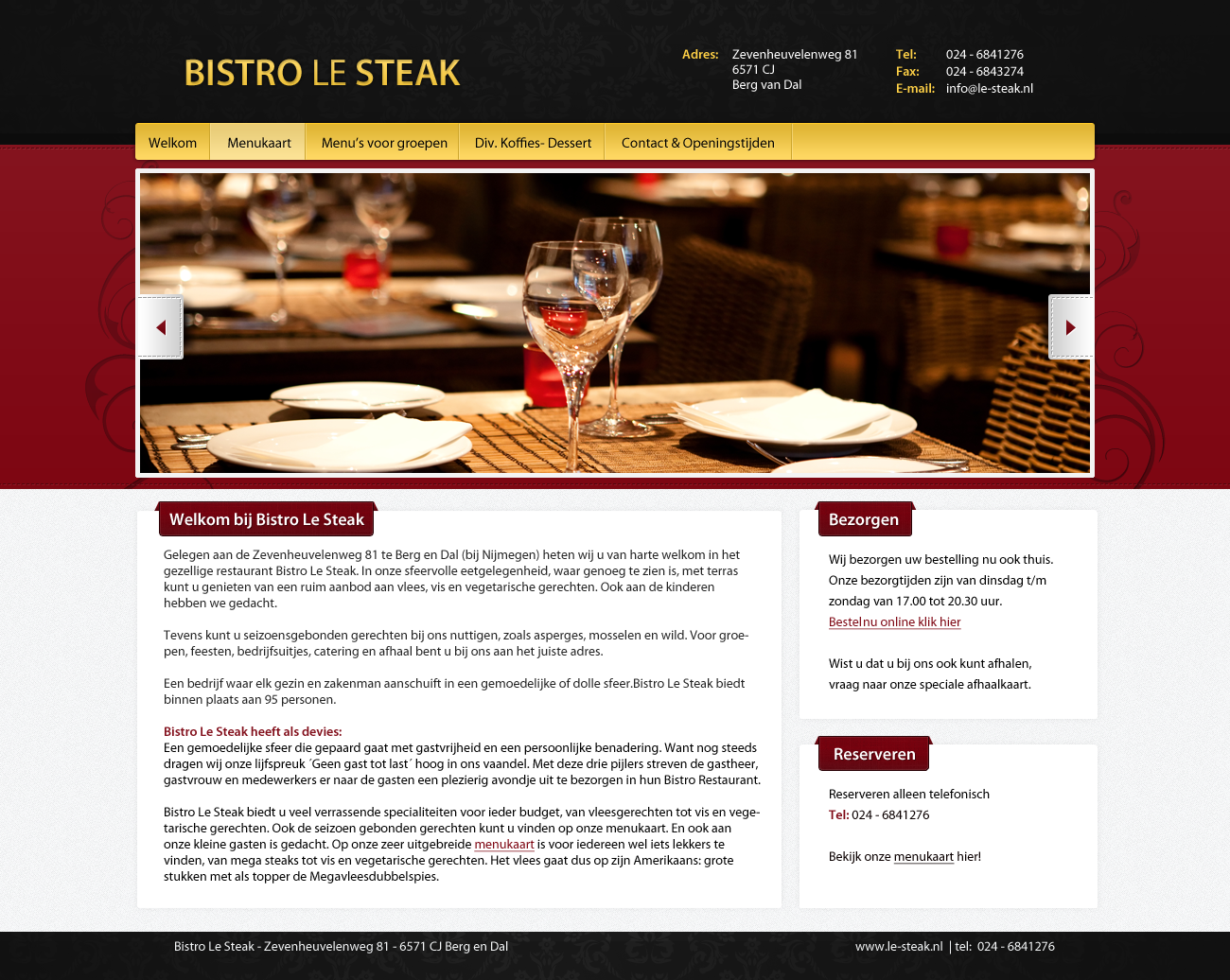 Website Bistro Le Steak Berg en Dal